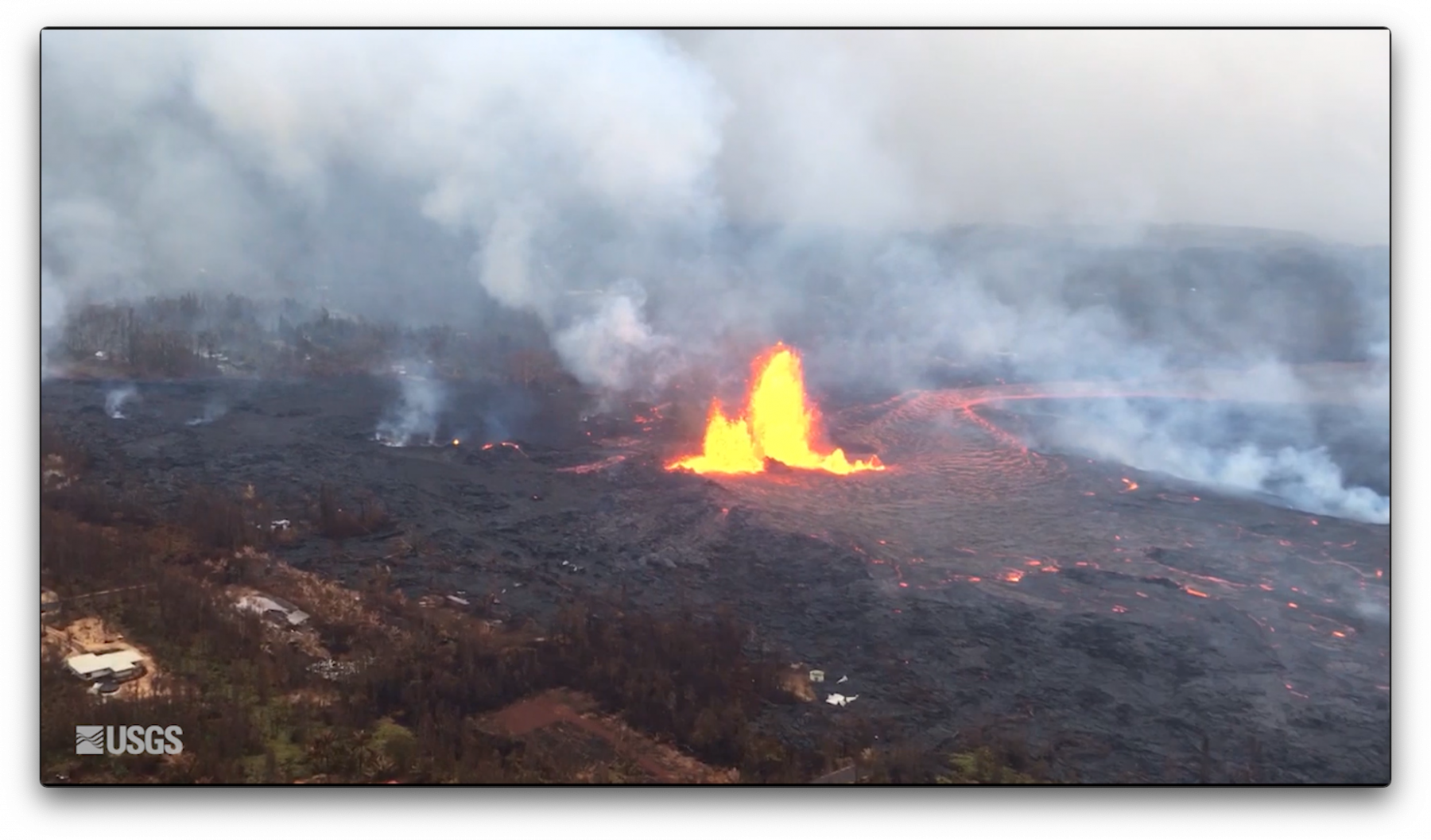 lava flowing from eruption of the Kilauea volcano
