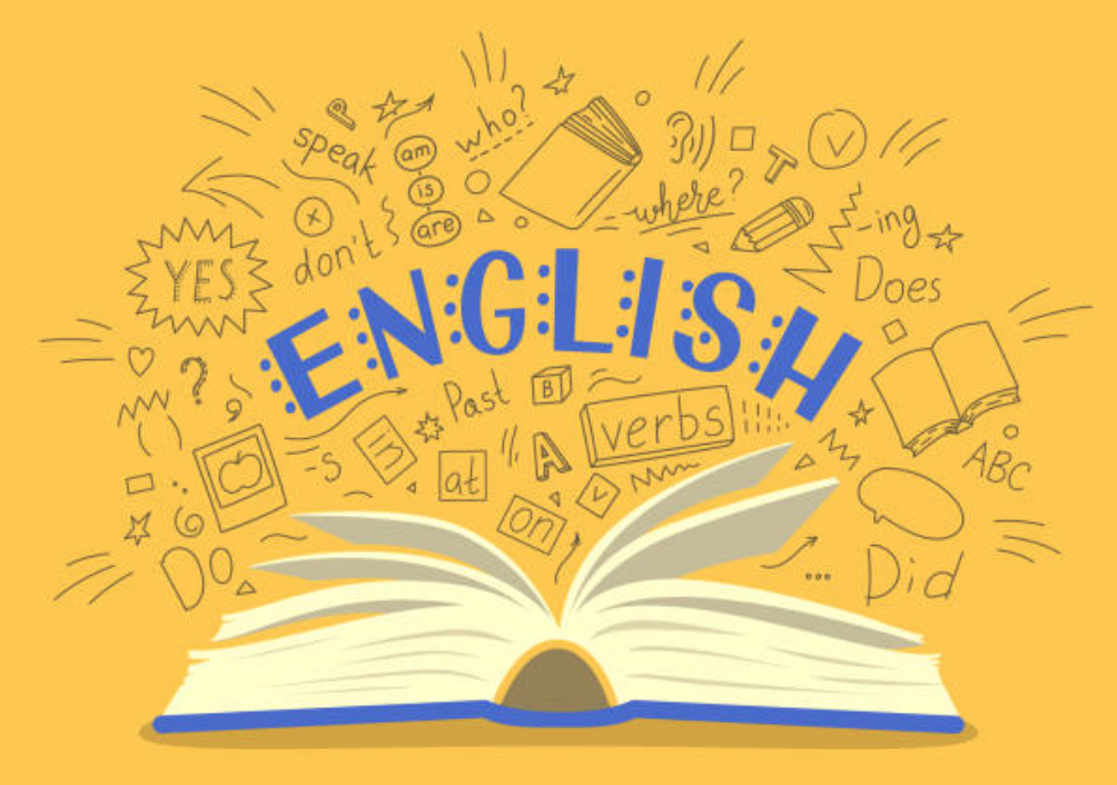 graphic of a book and the word 'English' above it