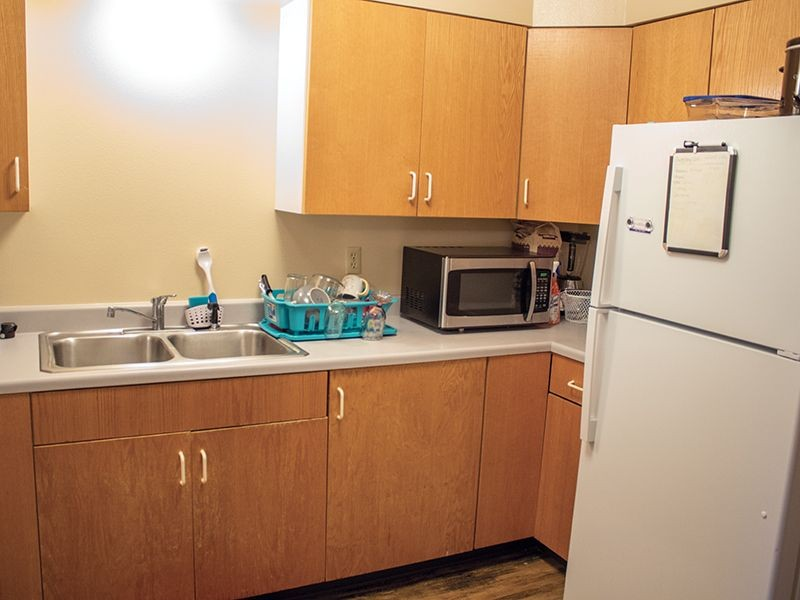 kitchen in a student housing apartment
