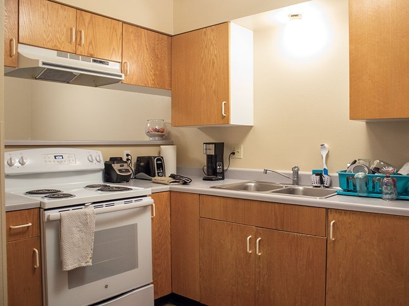 Stove and sink in a student housing apartment