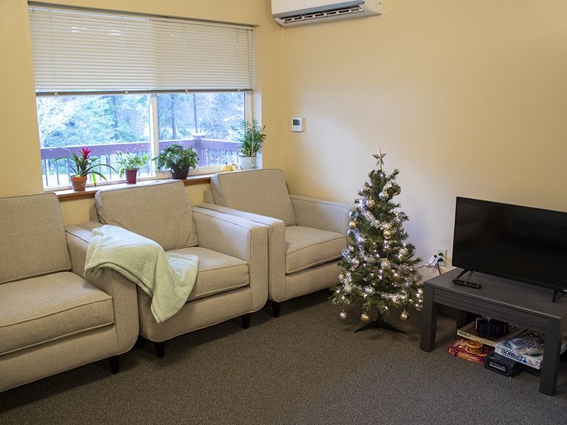 Living room in a student housing apartment decorated for the holidays