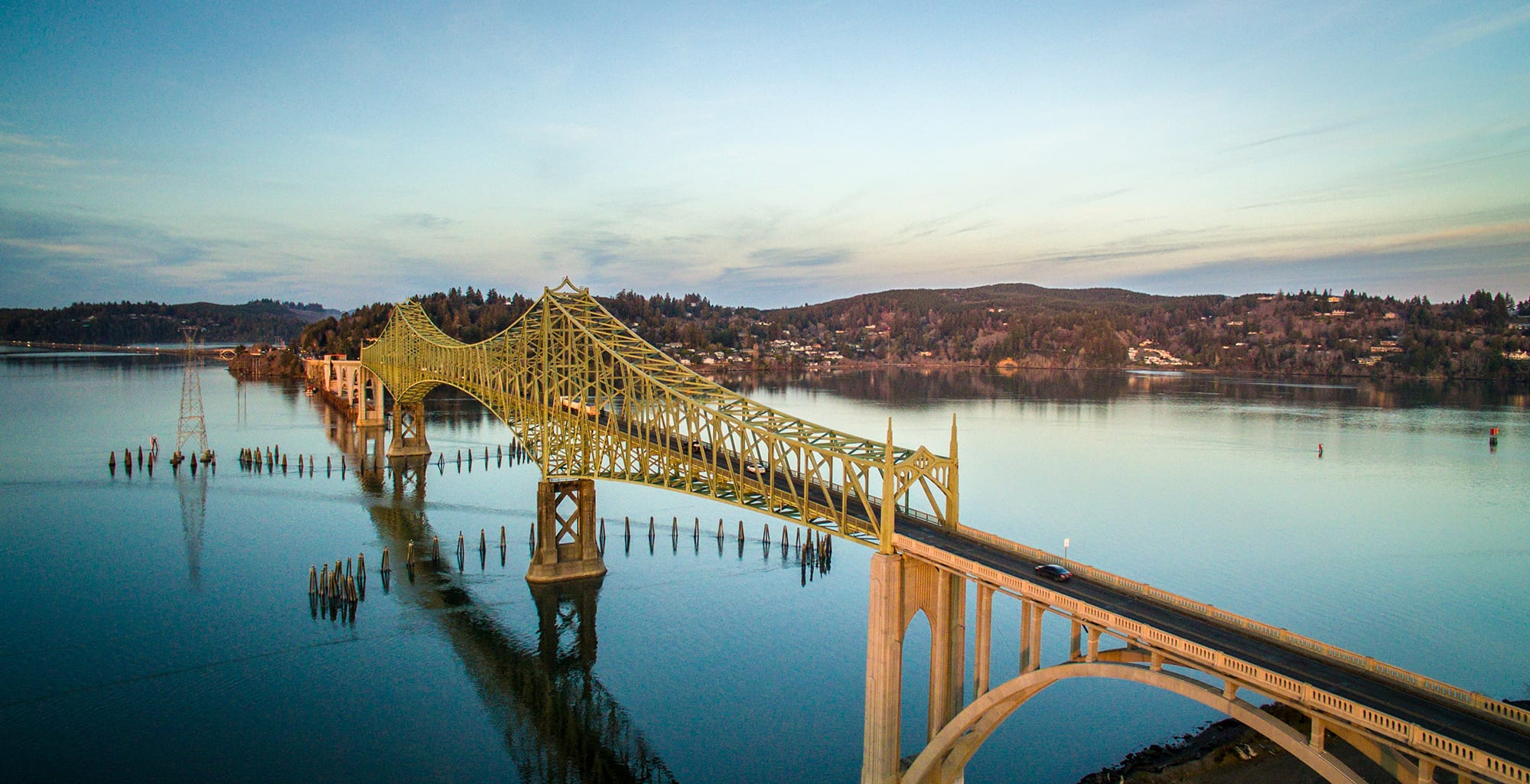 aerial photo of McCullough Memorial Bridge near Coos Bay Oregon