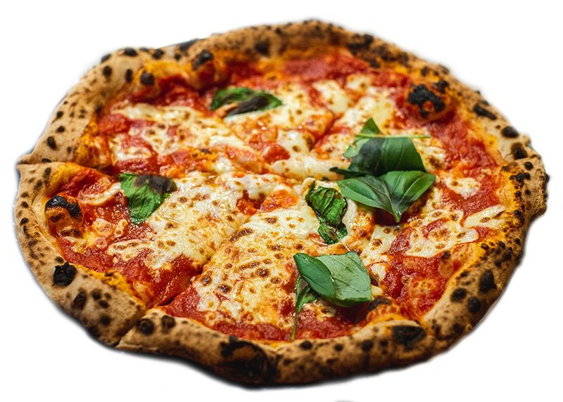 Stone fired pizza with cheese and spinach