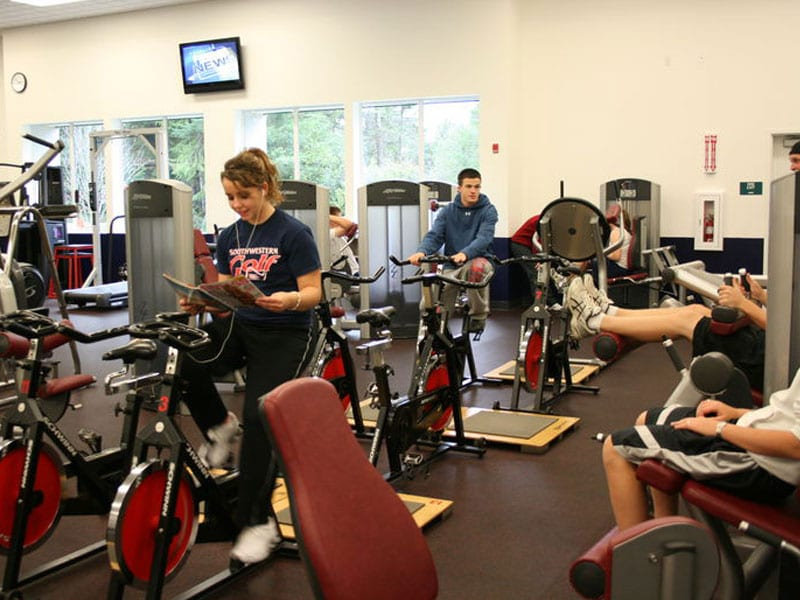 Students and Community members working out in the Recreation center on campus