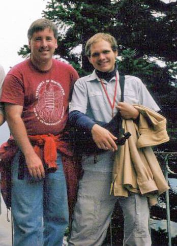 Archive photo of geology instructor Ron Metzger and student Lou Rushton