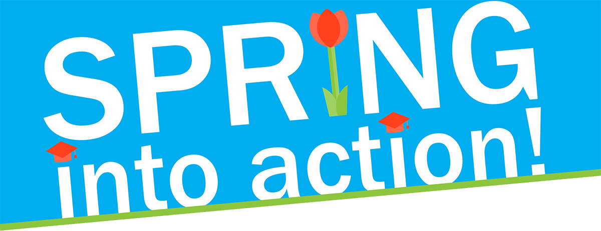 Spring into Action logo, words and flowers