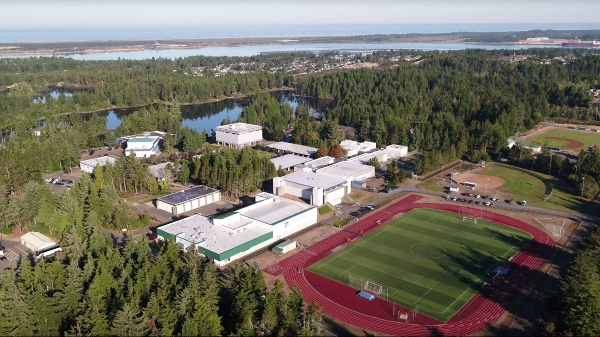 An aerial view of Southwestern Oregon Community College